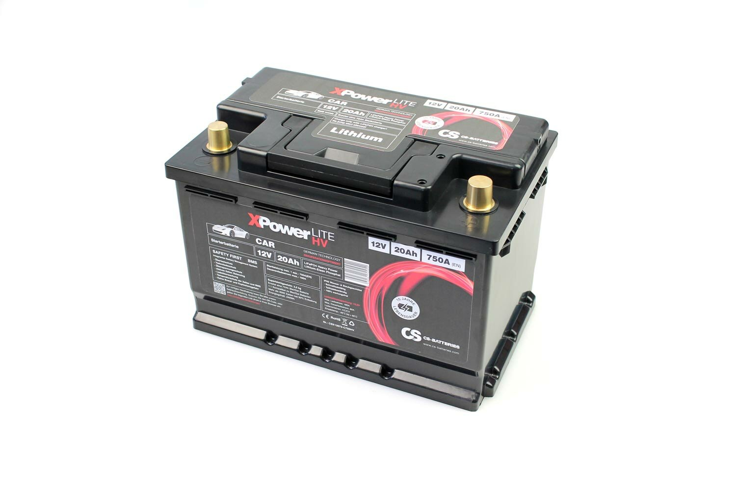 Lithium LiFePO4 Auto Batterie 12V / 20Ah BMS -750A(EN) Peak  279 x 175 x 189mm  ~3,6kg-/ Pb-eq 72AH -Rekuperation-