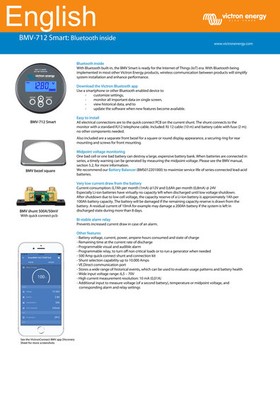 Click here for the Datasheet of the Victron BMV-712 Smart