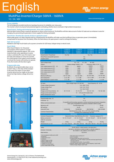 Click here for the Datasheet of the Victron MultiPlus 500-1600