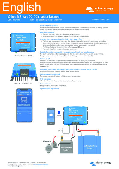 Click here for the Datasheet of the Victron Orion-TR Smart Converter