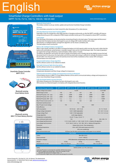 Click here for the Datasheet of the Victron SmartSolar MPPT 100/15