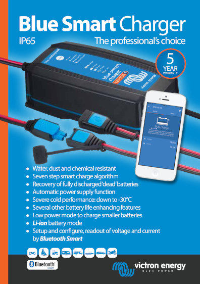 Click here for the Datasheet of the Victron Blue Smart IP65 Charger
